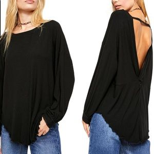 Free People Shimmy Shake Top V Cut Back Black